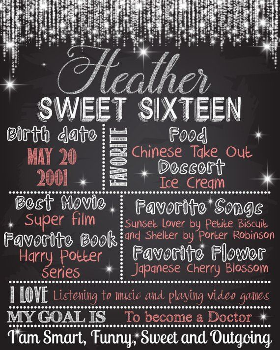 Sixteenth Birthday Poster For Girls Sweet Sixteen Poster Etsy Sweet 16 Birthday Party Birthday Poster Sweet Sixteen
