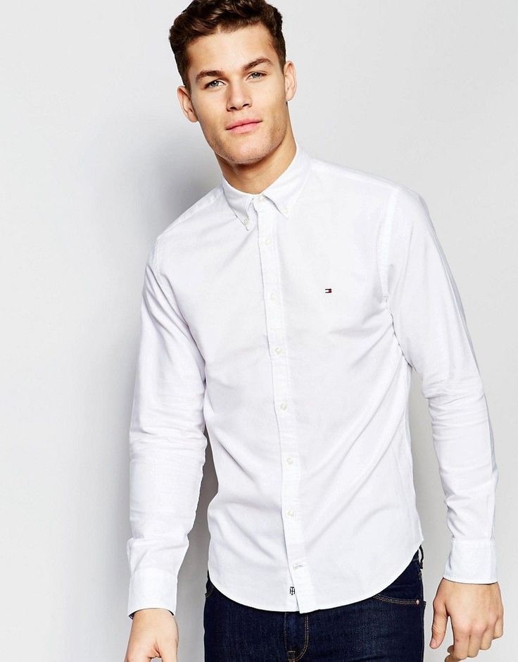Tommy Hilfiger Oxford Shirt In New York Regular Fit in White - White