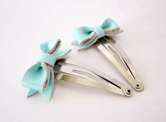 Mint blue wedding hair bows, Bridesmaids hair bow clip, Tiffany blue wedding hair clips, Cute hair fascinator, Something blue, Bride hairbow...