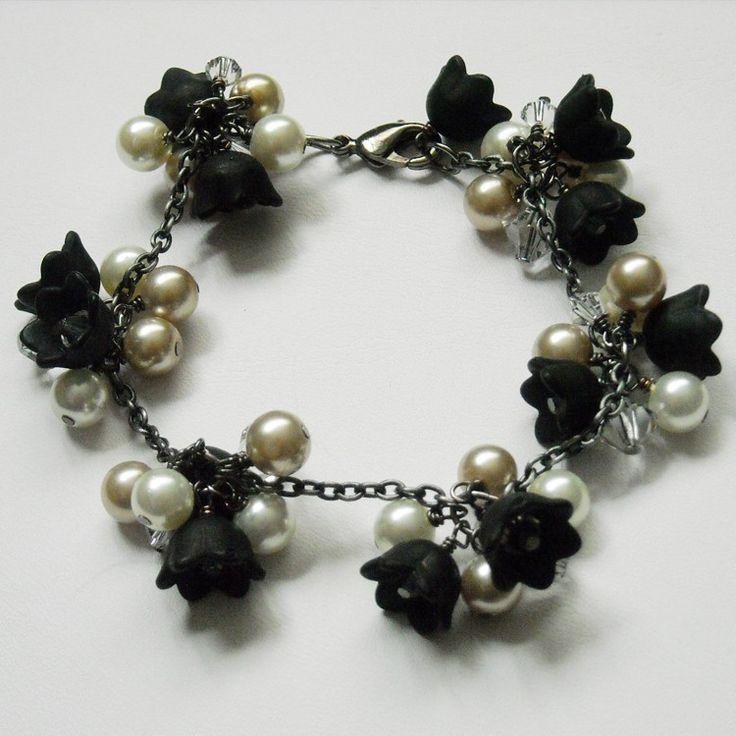 Lady in Black handflower Bracelet Cuff bracelet beadwork bangle black bronze wedding Bridal Free Shipping 80.00 USD Available at http://ift.tt/1NM3wVS