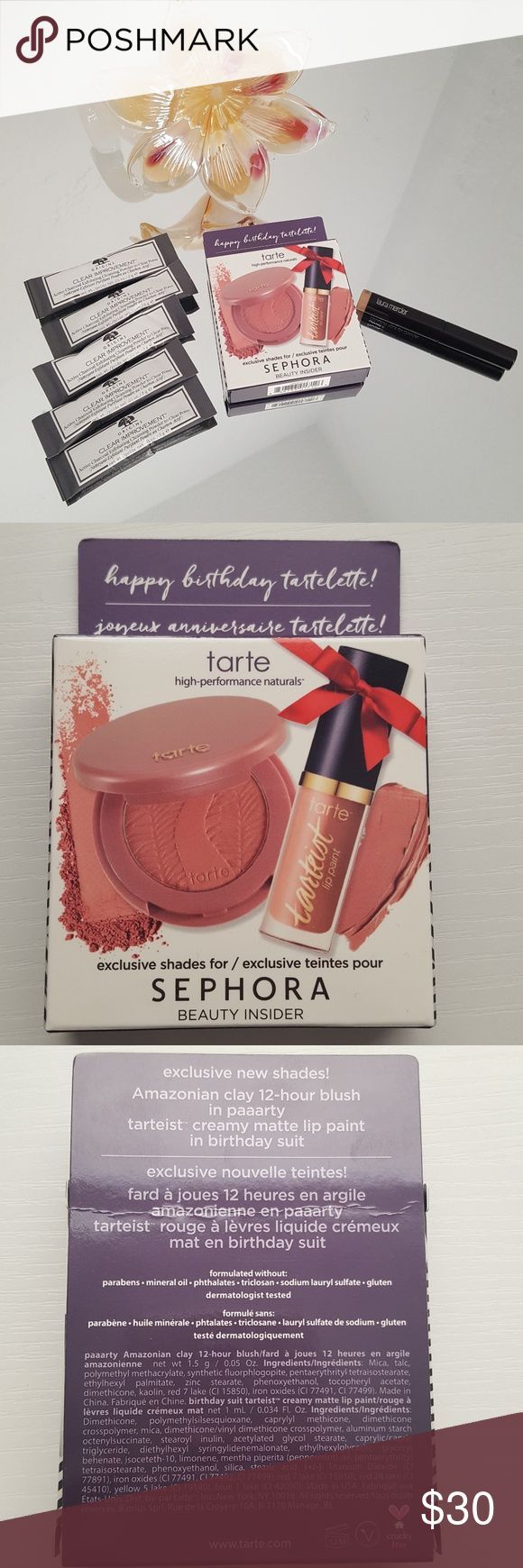 Sephora Deluxe Sample Lot Tarte Origins Mercier All items are new and unused.  Sephora Tarte Birthday Gift 2017 Birthday Suit Blush .05 oz and Lip .034 oz.    Laura Mercier Caviar Stick Eye Crayon in Rose Gold .03 oz   Origins Active Charcoal Exfoliating Cleansing Powder x 5 .01 0z each Sephora Makeup