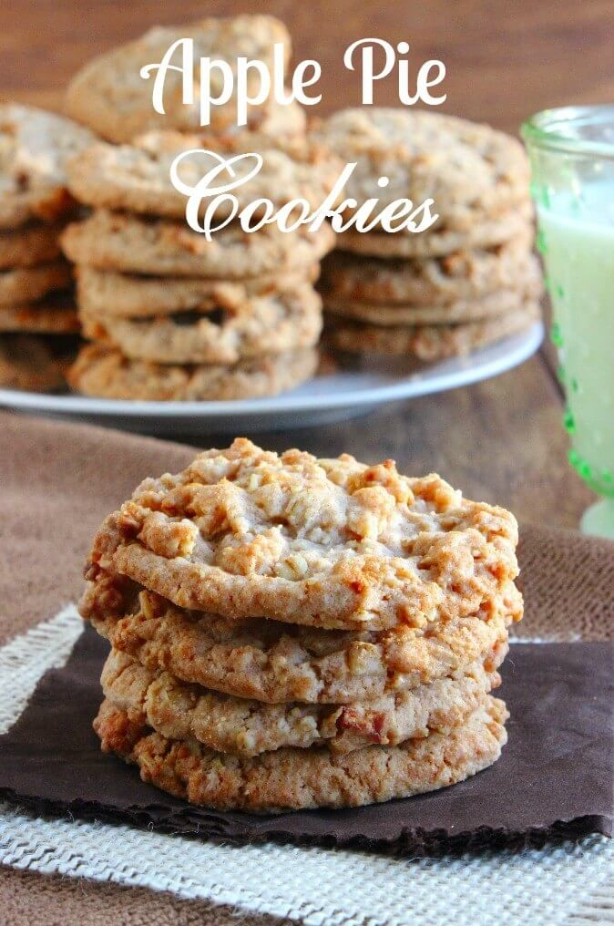Apple Pie Cookies may just be the perfect treat. Grated fresh apple is blended with apple pie spices. Soft, sweet and chewy all in one little package. ~ http://veganinthefreezer.com