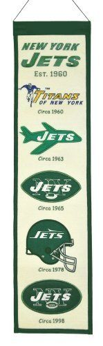 NFL New York Jets Heritage Banner by Winning Streak. $21.99. This unique wool, vintage style banner is decorated with distinctive embroidery and applique detail, and highlights the evolution of logos over time. Ideal as a gift or for decorating an office, gameroom or bedroom.. Genuine wool blend fabric.. A uniquely hand-crafted, vintage style, wool banner featuring intricate embroidery and applique design detail.. NFL New York Jets Heritage Banner