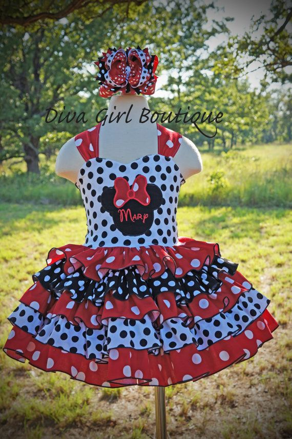 Girls Boutique Birthday Dress Minnie Mouse Ruffle Dress Pageant Dress Outfit of Choice Boutique Hair Bow 6m 12m 18m 24m 2t 3t 4t 5 6 7 8