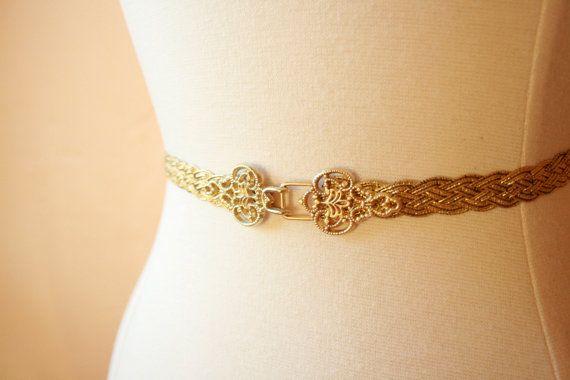 Gold Belt Gold Braided Elastic Belt by TheVelveteenSash on Etsy, $30.00