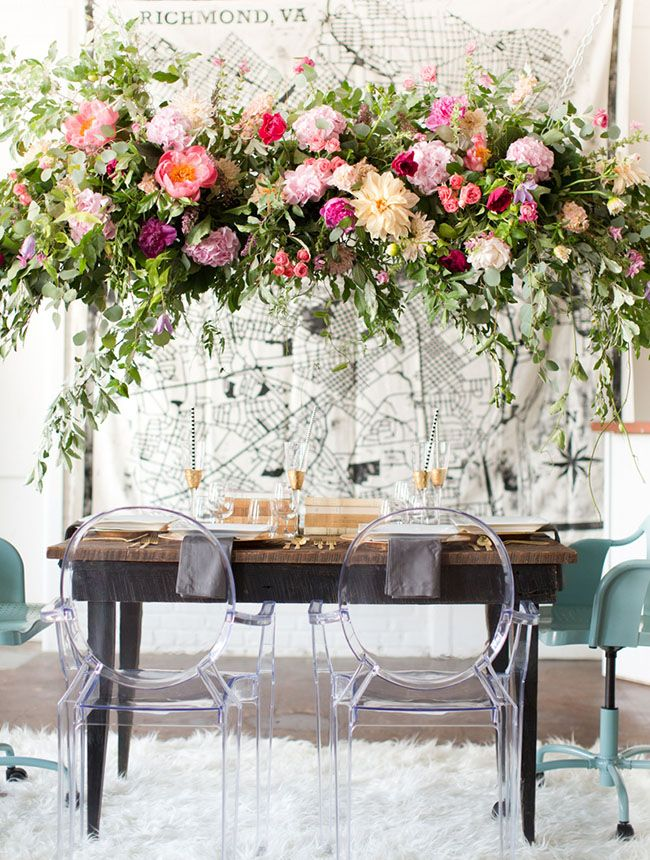Hanging floral chandelier with greenery + peonies
