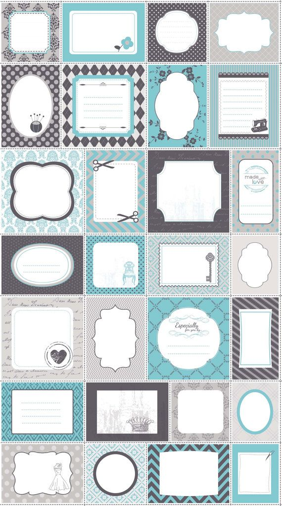 Riley Blake BLUE SewOn QUILT LABELS Panel 24 x 44 by donellefritz, $6.73