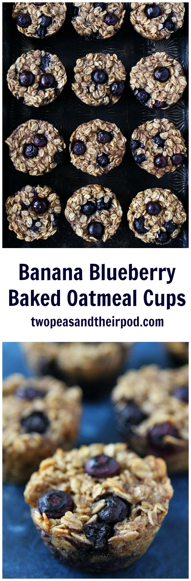 Banana Blueberry Baked Oatmeal Cups Recipe on twopeasandtheirpod.com These easy baked oatmeal muffins make a great breakfast on the go or healthy snack! Kids and adults love them!