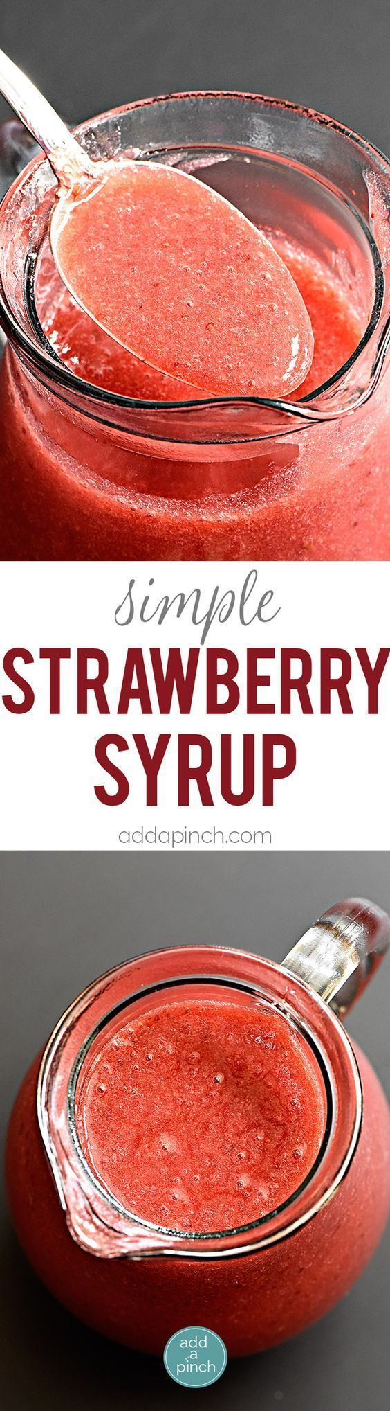 Simple strawberry syrup recipe uses just 3 ingredients! Ready in minutes, this strawberry syrup is perfect for so many dishes! // addapinch.com