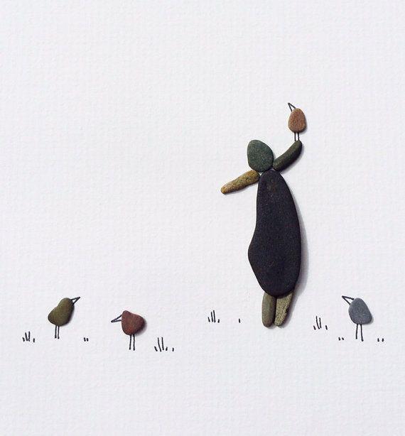 Pebble art of Nova Scotia, original, beach pebbles