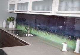Bespoke purple and green Cityscape splashback. Two tone gives interest - can tailor to suit colour-way.