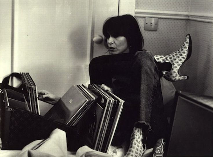 Chrissie Hynde of The Pretenders with a record case by Helmut Lang for Louis Vuitton , 1995