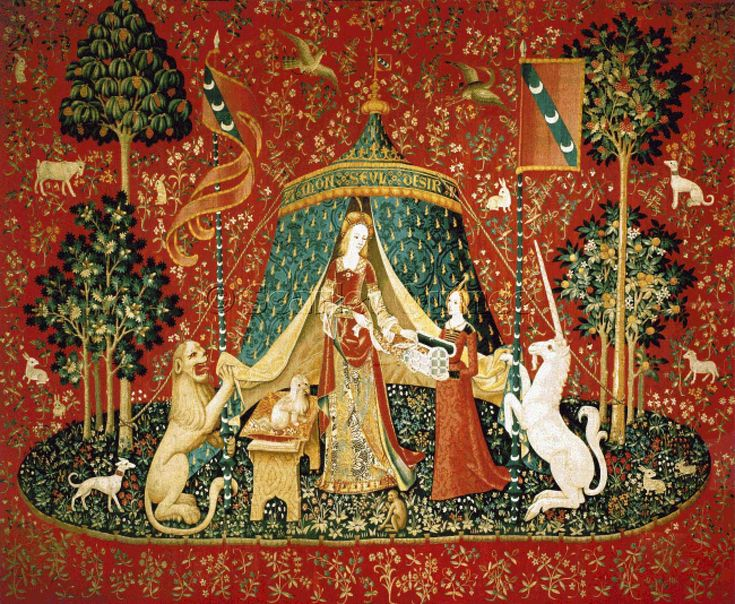 Scarlet Quince cross stitch chart: Lady with Unicorn: A Mon Seul Desir, from the Cluny tapestries