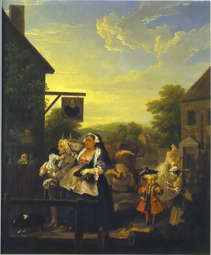THE FOUR TIMES OF DAY: EVENING. This painting takes place outside the city, near the Sadler's Wells Theatre. A pregnant woman and her husband have travelled to the countryside surrounding London to escape the heat. In the bar, other travellers can be seen. Hogarth is poking fun here at people who escape the city only to recreate the smoky crowded conditions of London inside a bar.