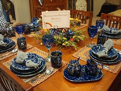 """Bennington Pottery in Blue Agate.... THIS is my wedding """"china"""" (or, should I say, Pottery) This the cobalt blue shade I was talking about (look at blue where light hits it in the picture)"""