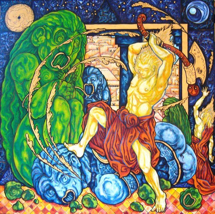 Thierry Guého (©2013 artmajeur.com/guehisme) Une série symbolique sur la sagesse prophétique, d'après les religions de Livre Huile sur toile
