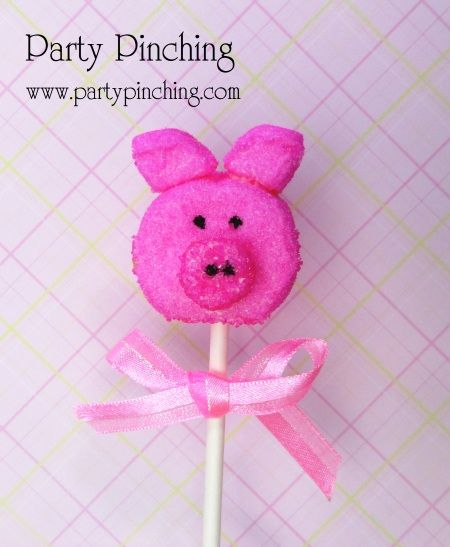 Piggy marshmallow popPiggies Pop, Holiday Ideas, Ideas Parties, Easter Candies, Easter Holiday, Bunnies Peep, Peep Candies, Marshmallows Pop, Parties Food