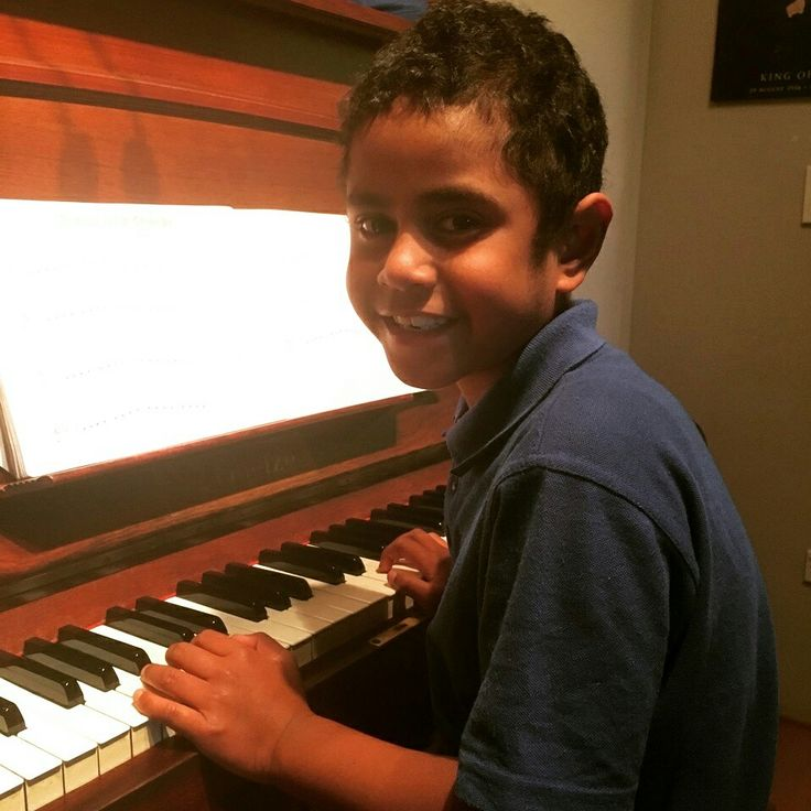 Young Kevin Fotu loves his piano