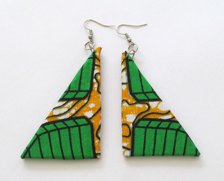 Fundi unique handcrafted African ankara fabric fashion earrings - Modern…