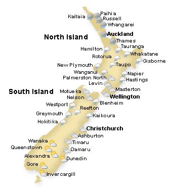 New Zealand Weather Map, New Zealand Weather Forecasts