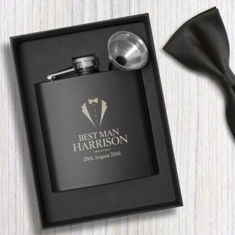 Personalised Wedding Black Hip Flask