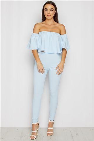 Lola Powder Blue Bardot Top & Trouser Set at misspap.co.uk