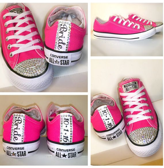 Women's HOT Pink RARE COLOR chucks Converse all by CrystalCleatss