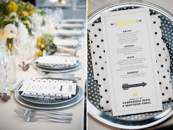 modern yellow, black and white with polka dots table setting and menu