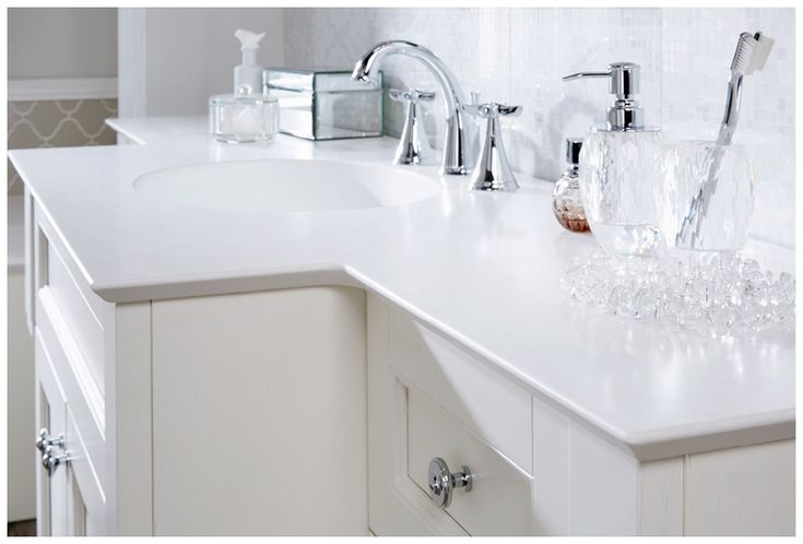 Polaris white solid surface worktop with stylish inverted chamfer edge detail n #Roseberry #paintedtimber #bathroomfurniture #myutopia