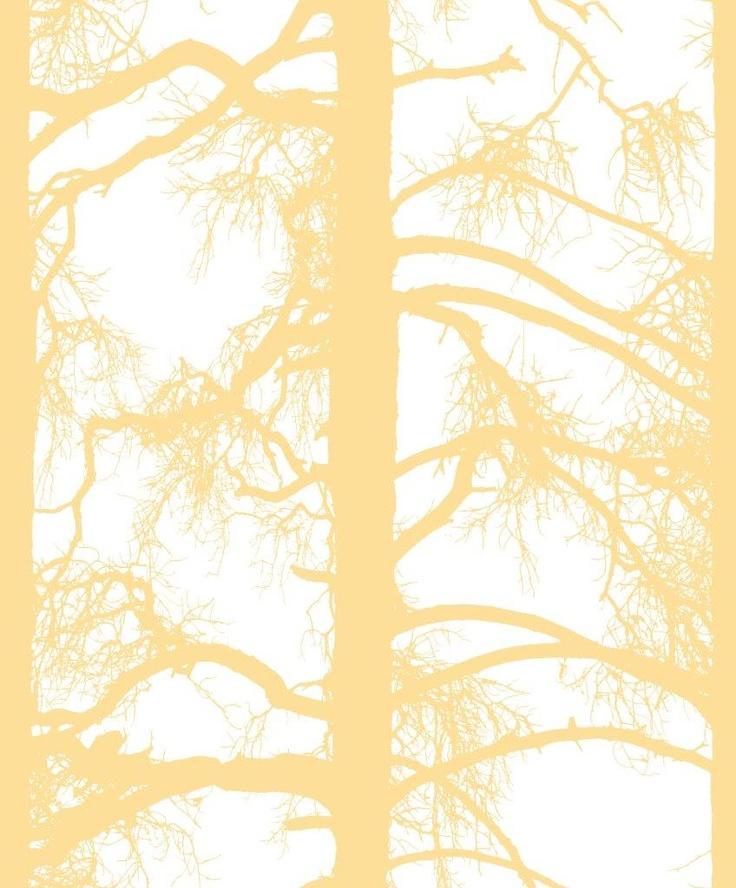 Kelohonka wallpaper, yellow. Design Tanja Orsjoki