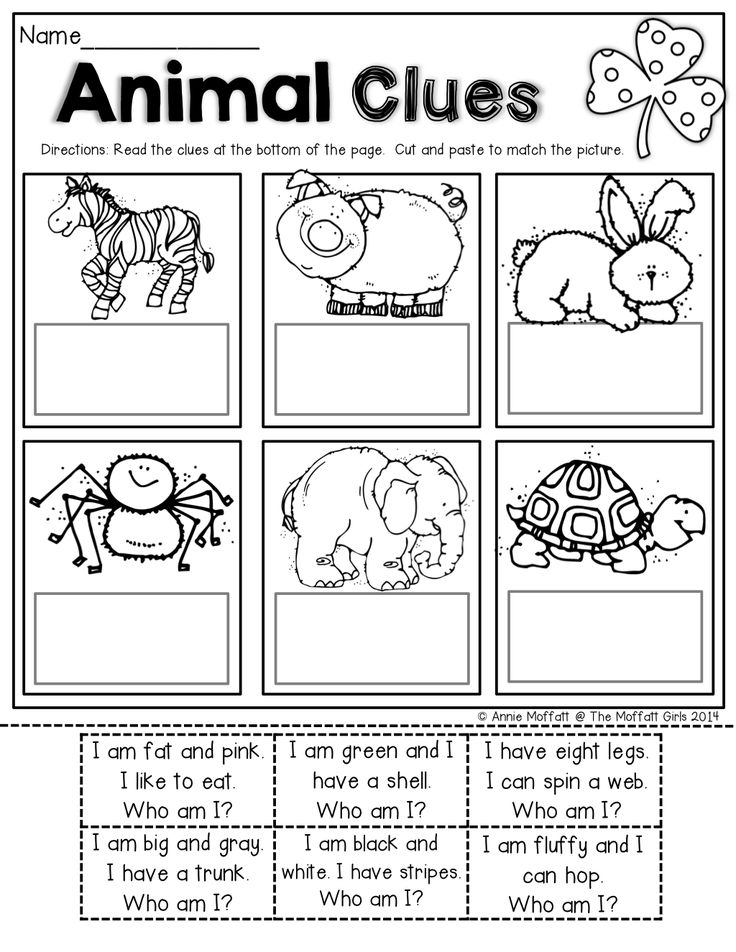 Read SIMPLE sentence clues, cut and paste to match the ...