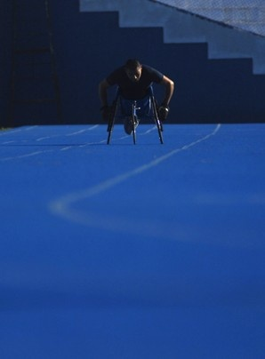 Salvadorean Paralympic wheelchair racer Luis Morales trains at the Nacional Magico Gonzalez stadium in San Salvador.