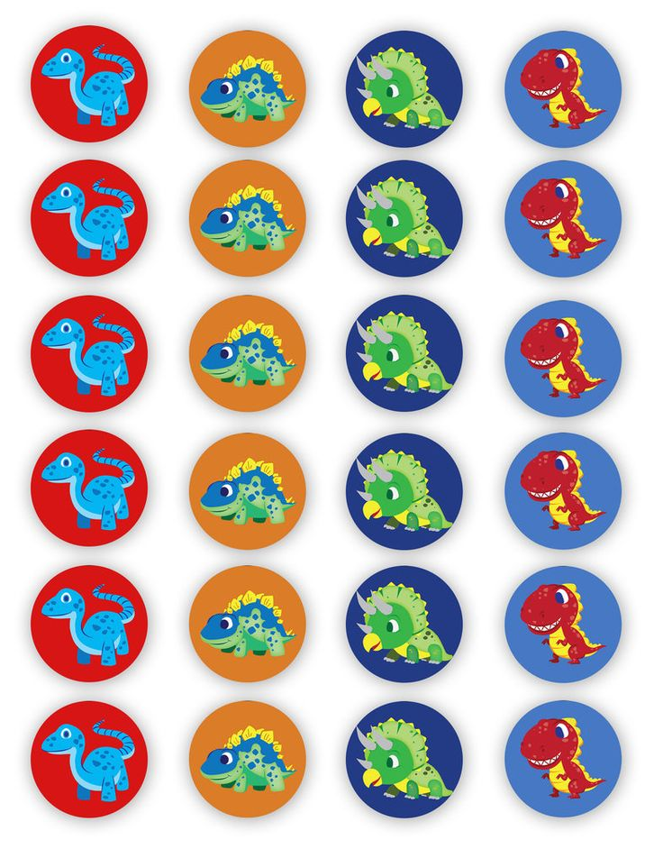 Dino Cupcake Toppers by dannieanndesigns on deviantART