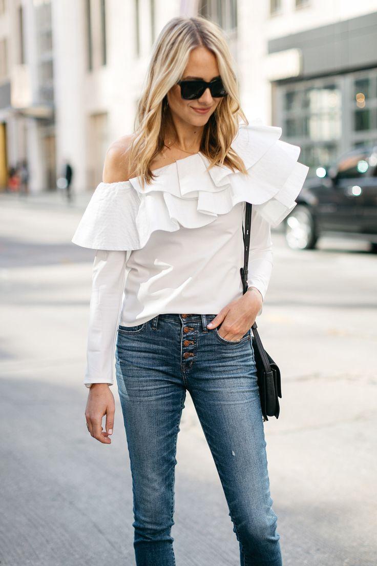White Ruffle One Shoulder Top, Button Fly Jeans, Chloe Faye Handbag, Fashion Jackson