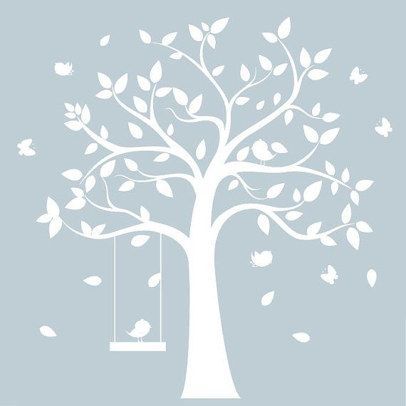 white tree wall decal - white tree with birds & butterflies- nursery wall art