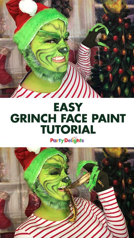Dress up as the Grinch this Christmas with our DIY Grinch costume and easy Grinch face paint tutorial! You only need basic face paints and costume accessories to transform yourself into Jim Carrey's much-loved version of the Grinch and everything you need is available at partydelights.co.uk.