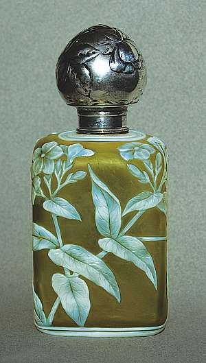 This scent holder, an upright squared Webb cameo perfume bottle and stopper, is a rare form.