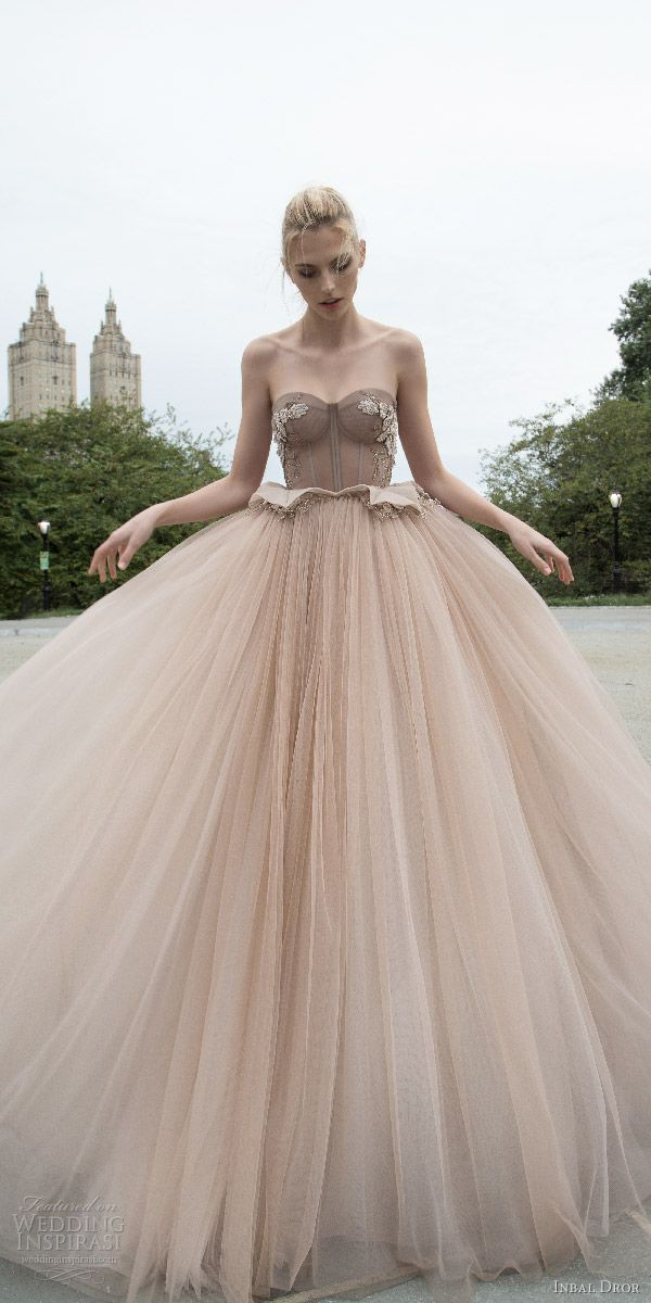 inbal dror 2016 strapless sweetheart corset ball gown wedding dress embellished bodice peplum taupe color style 04 mv