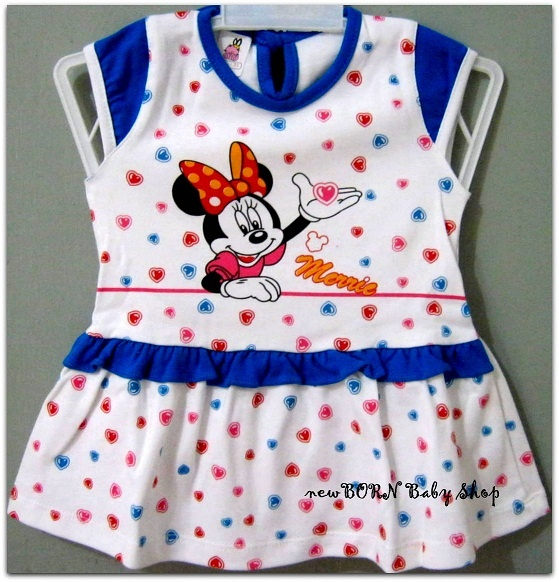 Baby Vi Minnie Mouse Dress  Age: 6-12 months  Material : Cotton/Katun  Colour : Blue,Pink and Red