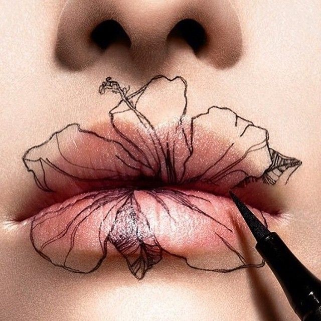 Avant-garde makeup / creative makeup / conceptual / hibiscus / flowers /lips / Novo_London on Instagram
