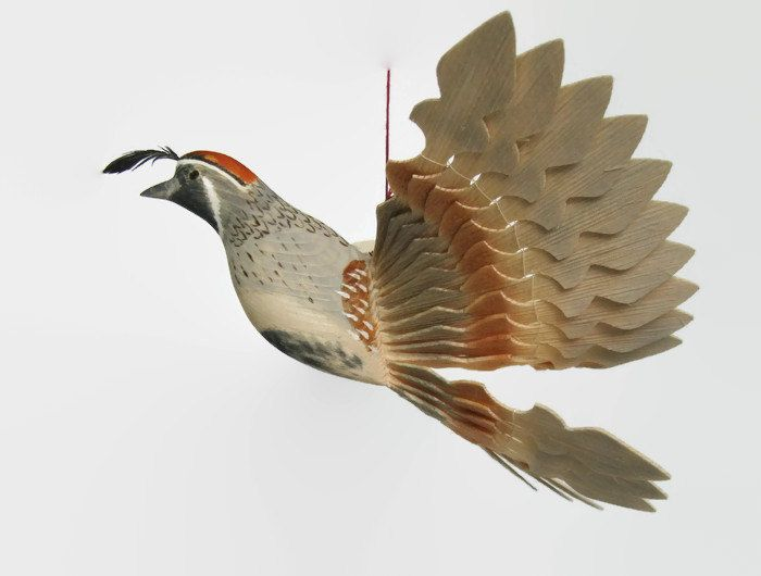 RESEVED Bird Wood Carving, Gambel's Quail Mobile Woodworking Art, Woodland Wood Craft, Hand Carved Fan Bird, Hunter Gift, Wildlife Figurine by MyFanbirds on Etsy