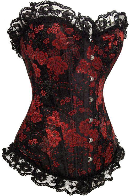 Corset noir à motif floral rouge et dentelle