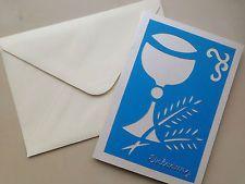 Schöne, handgefertigte Einladungen zur Erstkommunion / Konfirmation mit Umschlag