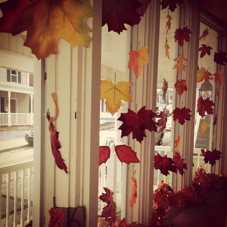 Fall Bay Window Decorating Idea... Fabric Leaves Tied Onto Clear Jewelry  String