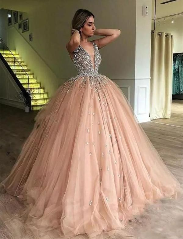 dbd171a99e558 Champagne Ball Gown Prom Dress Sexy V neck Crystals Beaded Evening ...