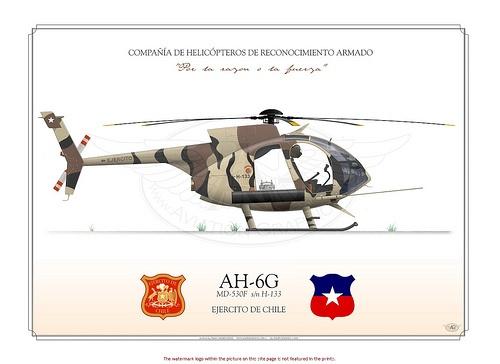 AH-6G COMPAÑÍA DE HELICÓPTEROS DE RECONOCIMIENTO ARMADO    Manufacturer: MD Helicopters  Model: AH-6 G  Tail Code: H-133    CHILEAN ARMY . EJERCITO DE CHILE    COMPAÑÍA DE HELICÓPTEROS DE RECONOCIMIENTO ARMADO