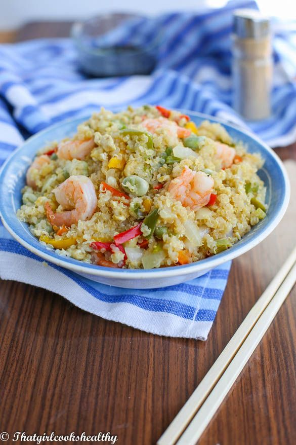 Stir fried quinoa with vegetables and shrimp
