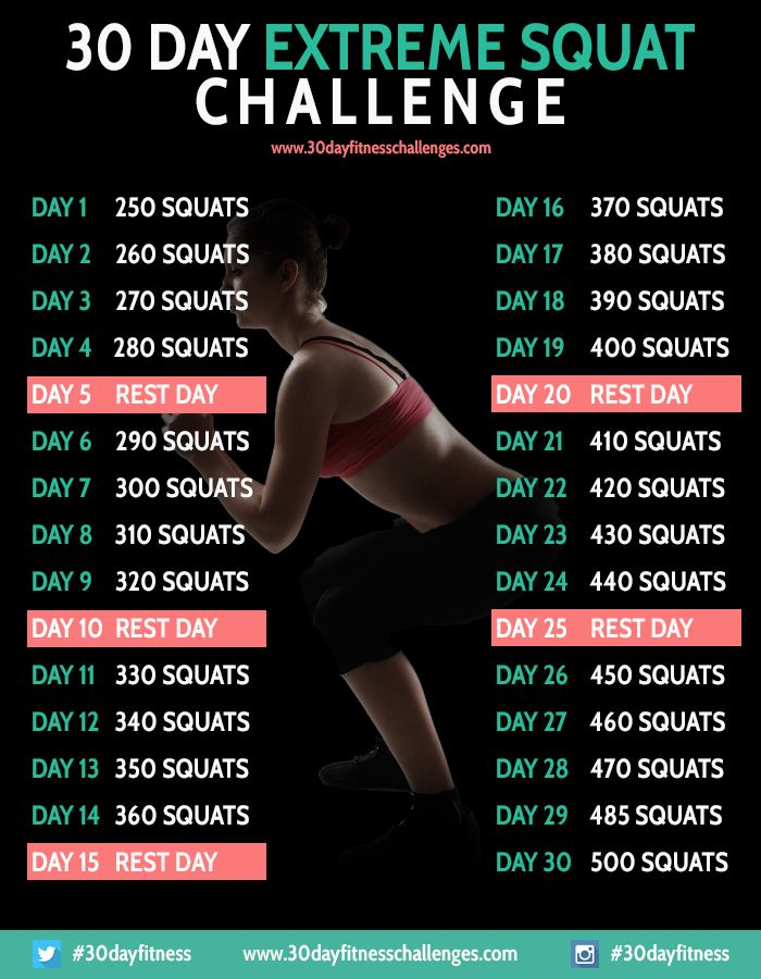 30 day extreme squat challenge workout dietitian charts and 30 day fitness. Black Bedroom Furniture Sets. Home Design Ideas