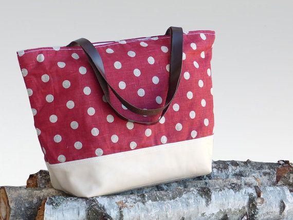 Ample large linen leather diaper bag / tote bag / by dawnaparis, €55.00