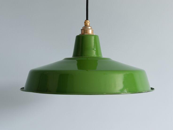 Vintage Style Enamel Industrial Green Lamp Shade